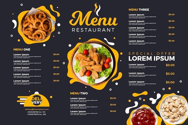 Formato horizontal do menu digital do restaurante Vetor Premium