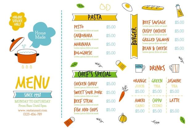 Formato horizontal do menu digital do restaurante Vetor grátis