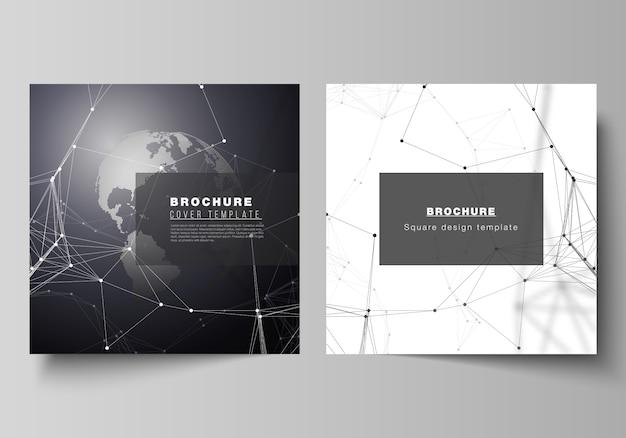 Formato quadrado abrange modelos de design para brochura, folheto. Vetor Premium