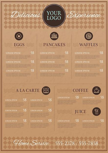 Formato vertical do menu digital do restaurante Vetor grátis