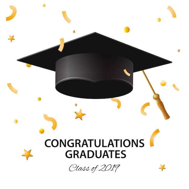 Formatura de 2019. cartaz, convite para festa, cartão de felicitações nas cores ouro. cartaz de graduação, ilustração. Vetor Premium