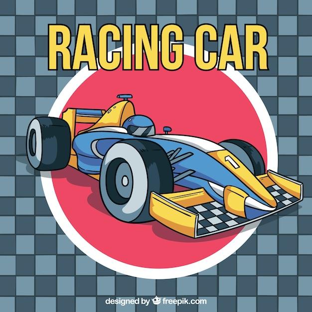 Fórmula 1 carro de corrida na mão desenhada estilo Vetor grátis