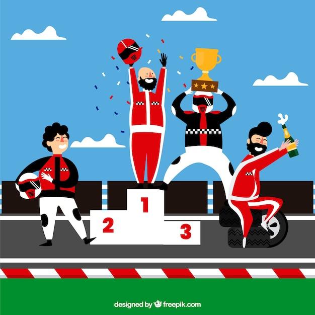 Fórmula 1 coleção de personagens de corrida com design plano Vetor grátis