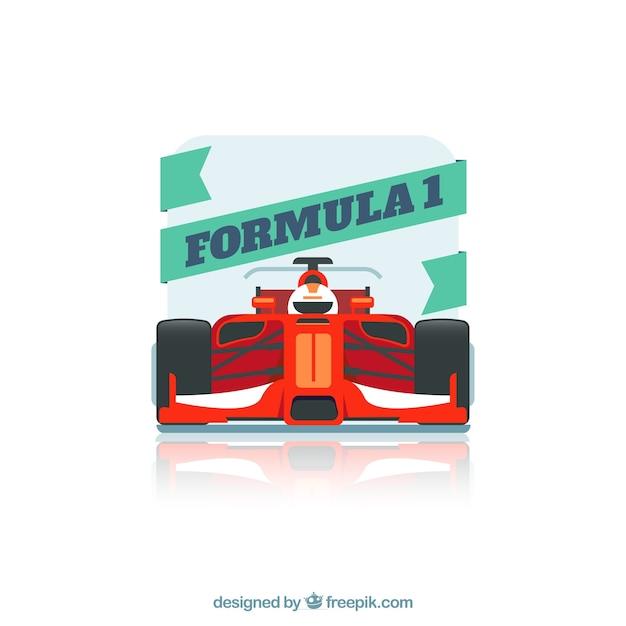 Fórmula moderna 1 carro de corrida com design plano Vetor grátis