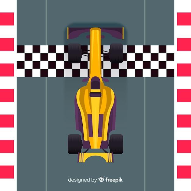 Fórmula moderna 1 carro de corrida na pole position Vetor grátis