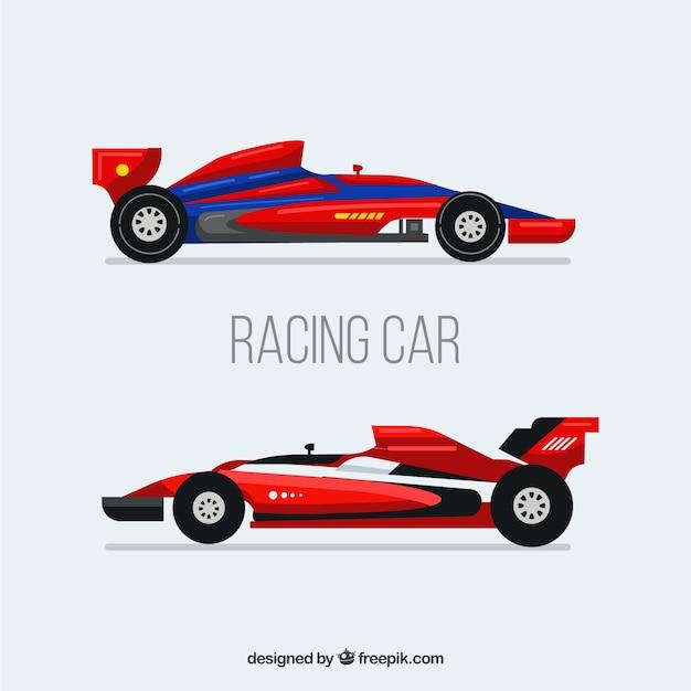 Fórmula moderna 1 carros de corrida com design plano Vetor grátis