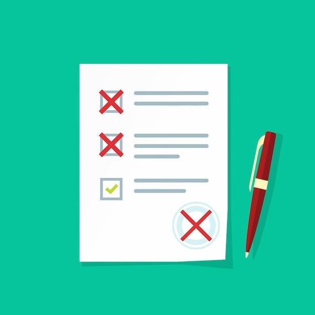 Formulário de exame de papel com vetor de avaliação com falha Vetor Premium