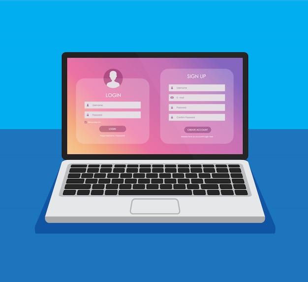 Formulário de inscrição e página de formulário de login em uma tela de laptop. modelo para seu projeto. conceito de interface do usuário do site. maquete de computador. Vetor Premium