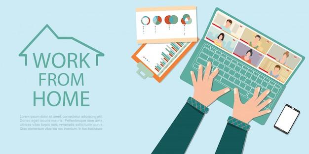 Formulário de trabalho para reuniões on-line durante a pandemia de covid-19. Vetor Premium