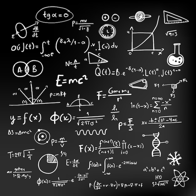 Fórmulas científicas na lousa Vetor grátis
