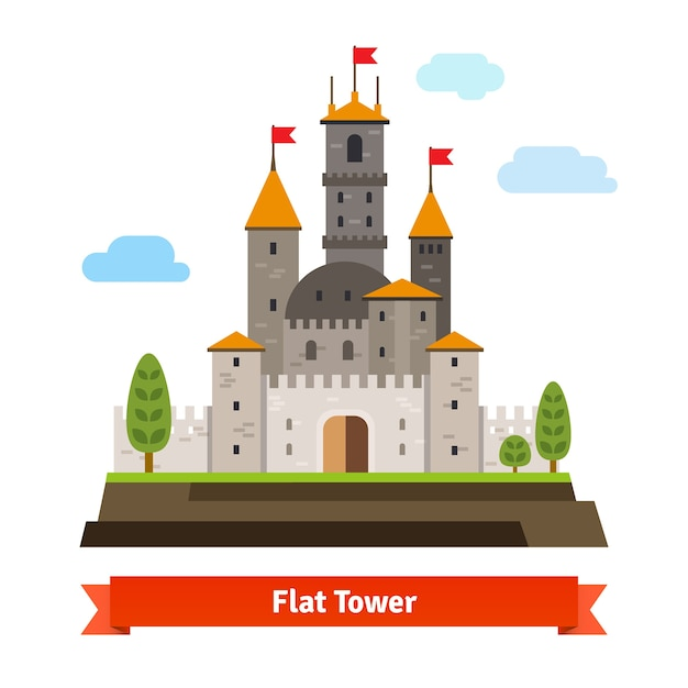 Fortaleza medieval com torres Vetor grátis