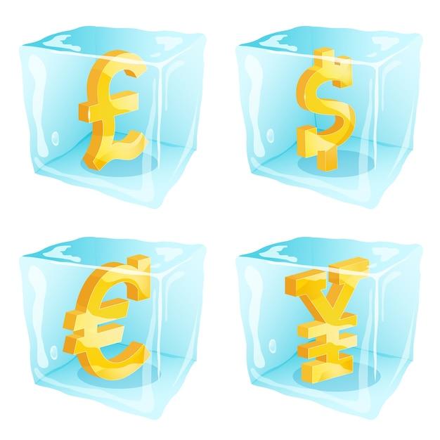 Foto de sinais de dinheiro congelados dentro de cubos de gelo Vetor Premium