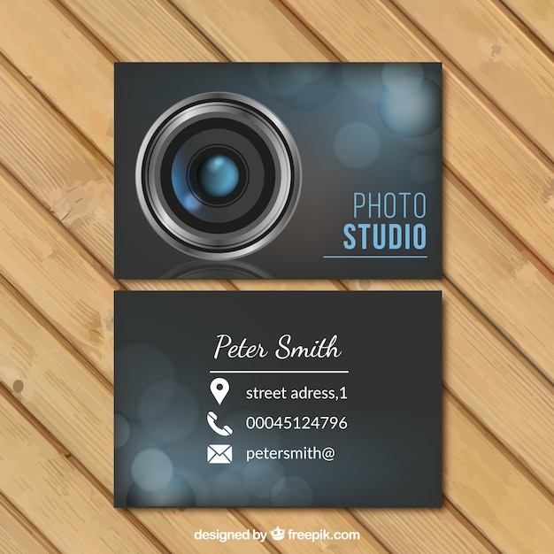 Foto do cartão do estúdio de negócios Vetor grátis