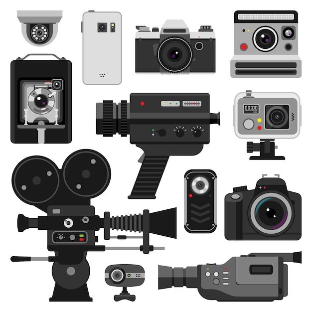 Foto e conjunto de câmeras Vetor Premium