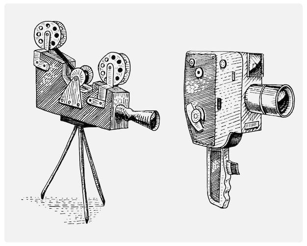 Foto filme ou filme câmera vintage, gravada, mão desenhada no estilo de desenho ou corte de madeira, lente retrô de aparência antiga, ilustração realista Vetor Premium