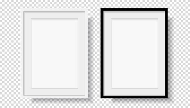 Foto realista preto e branco moldura em branco Vetor Premium