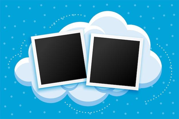 Fotoframes estilo cartoon e design de fundo de nuvens Vetor grátis