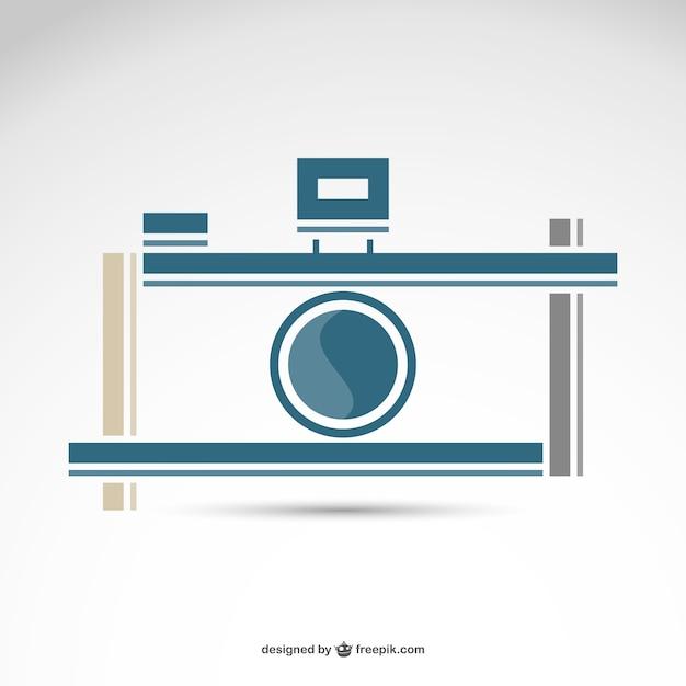 Fotografia câmera retro logotipo livre Vetor Premium