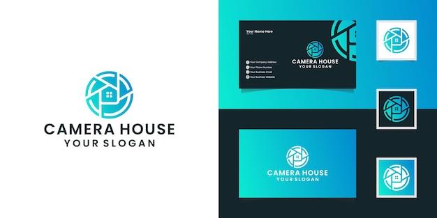 Fotografia de casa com conceito de lente e modelos de design de casa e inspiração de cartão de visita Vetor Premium
