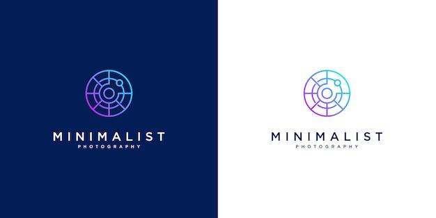 Fotografia de design de logotipo minimalista. design de estilo de linha, lente, foco e óptica. Vetor Premium
