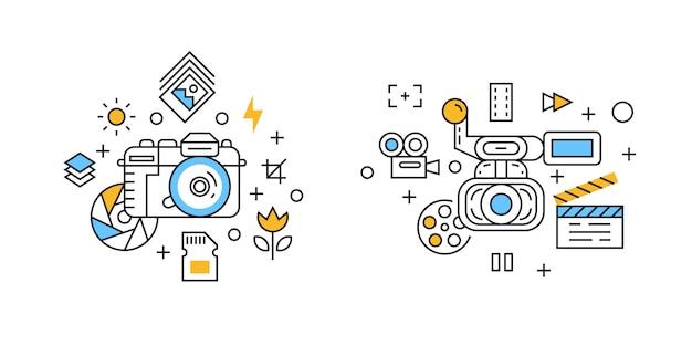 Fotografia e ilustração de videografia Vetor Premium