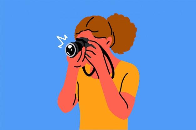 Fotografia, passatempo, ocupação, tiroteios, conceito de criatividade Vetor Premium