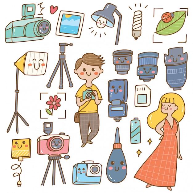 Fotógrafo com equipamentos kawaii doodle Vetor Premium