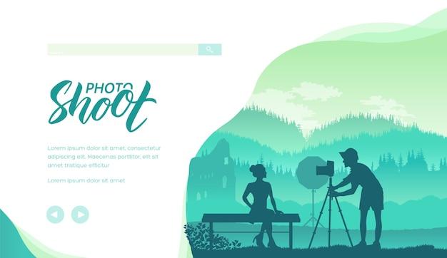 Fotógrafo com silhuetas de câmeras profissionais. fotografia na ilustração minimalista da natureza Vetor Premium