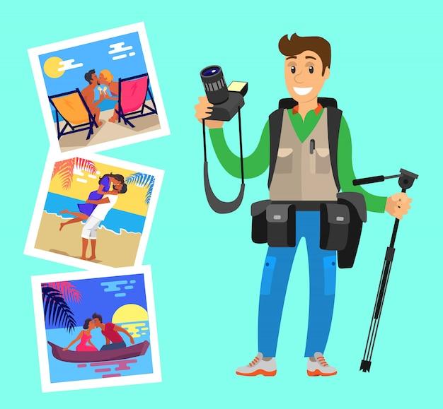 Fotógrafo com tripé em fundo de imagens Vetor Premium