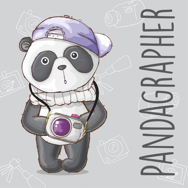 Fotógrafo de animal panda bonito-vetor Vetor Premium