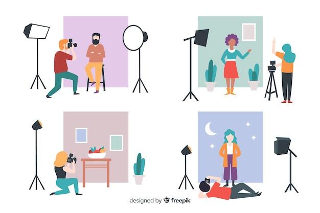 Fotógrafos ilustrados tirando fotos com diferentes modelos de conjunto Vetor grátis