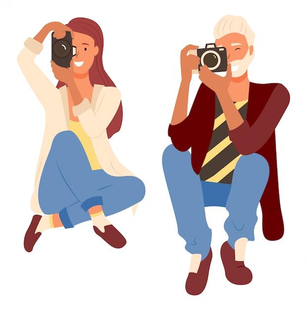 Fotógrafos profissionais tiro, câmera Vetor Premium