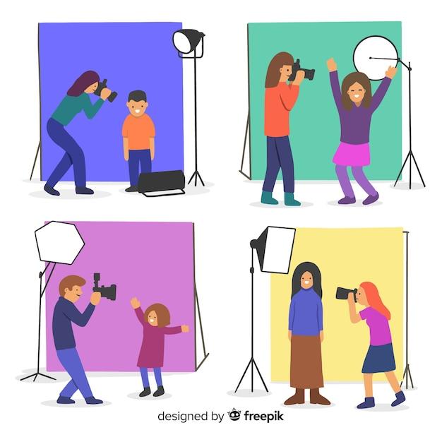 Fotógrafos que trabalham com câmera Vetor grátis