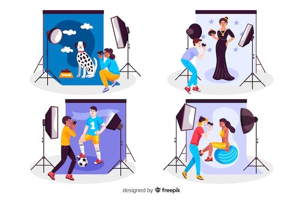 Fotógrafos trabalhando em conjunto de estúdios Vetor grátis