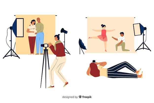 Fotógrafos trabalhando no estúdio Vetor grátis