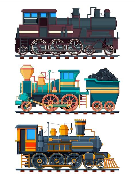 Fotos coloridas dos desenhos animados de trens retrô Vetor Premium
