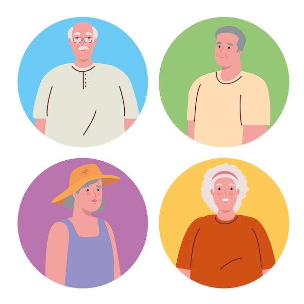 Fotos de idosos em moldura redonda Vetor Premium