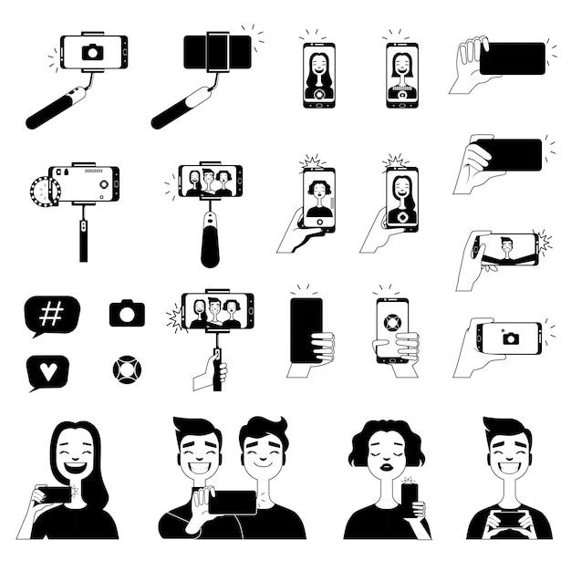 Fotos em preto de pessoas fazendo selfie e várias ferramentas para auto-foto Vetor Premium