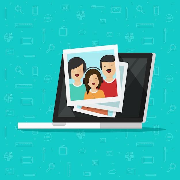 Fotos na tela do computador portátil ou ilustração de álbuns de fotos multimídia Vetor Premium