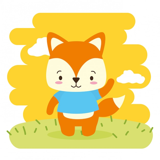 Fox animal bonito, desenhos animados e estilo simples, ilustração Vetor grátis