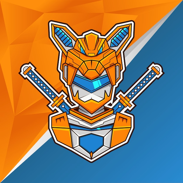 Fox assasin head illustration- esports logo Vetor Premium