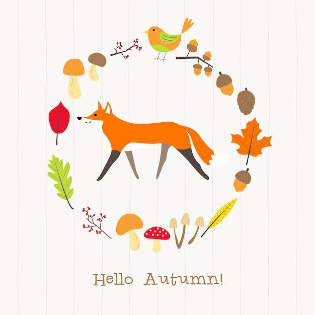 Fox com cartão de moldura de outono Vetor Premium