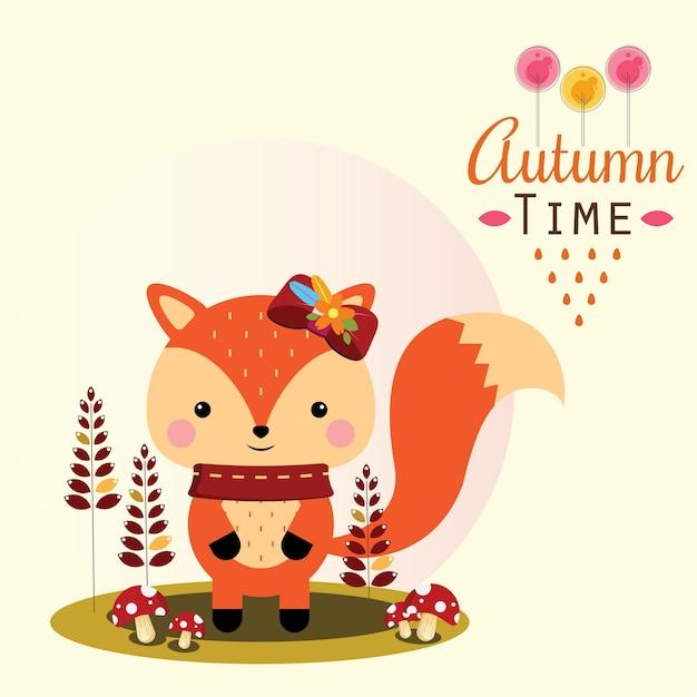 Fox de outono com cogumelo Vetor Premium