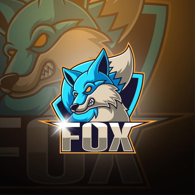 Fox esport mascote logotipo Vetor Premium