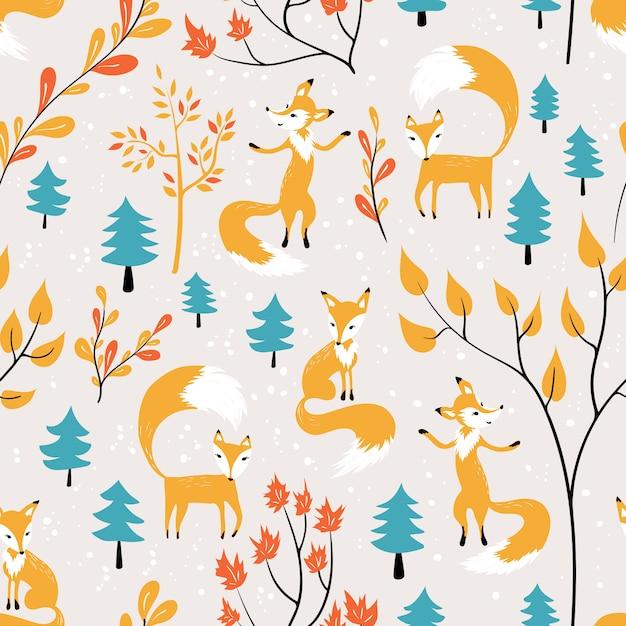 Fox laranja no padrão sem emenda de floresta Vetor Premium