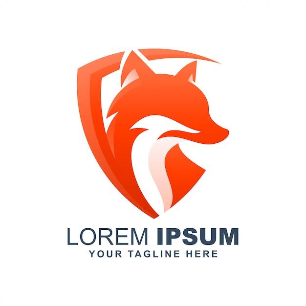 Fox lobo escudo moderno logotipo Vetor Premium