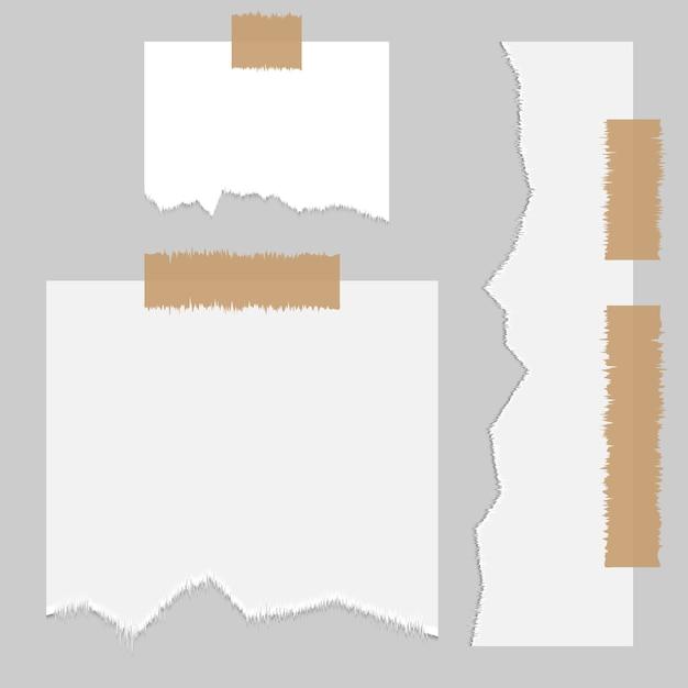 Fragmento de folha de papel, textura de borda rasgada. coleção de fragmentos de banner de fronteira rasgada com sombra. Vetor Premium