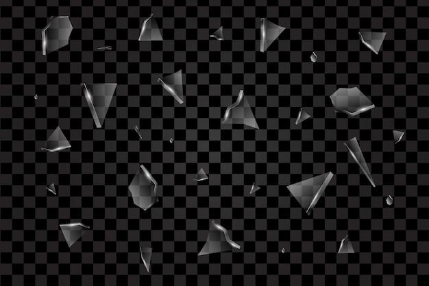 Fragmentos transparentes realistas de vetor de vidro quebrado Vetor Premium