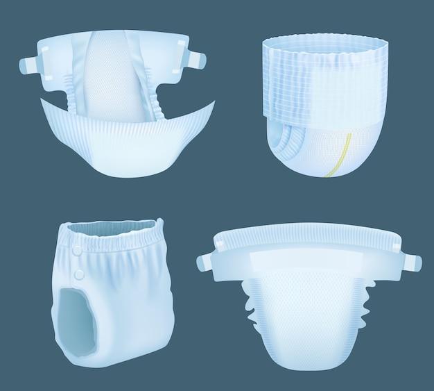 Fralda realista. fraldas para incontinência em camadas macias, brancas e confortáveis para bebês, para a coleção de modelos de vetores absorventes de xixi. fralda macia confortável, absorção realista e ilustração de segurança Vetor Premium