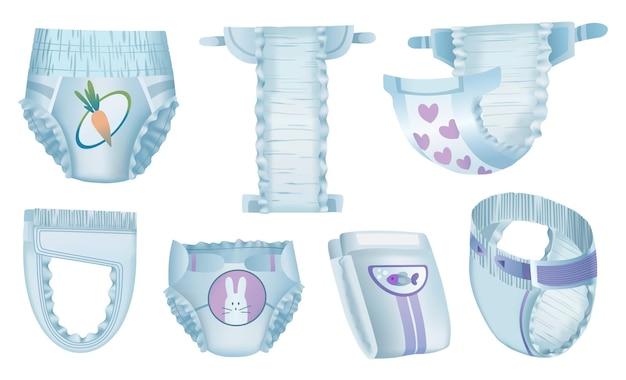Fraldas absorventes para bebês Vetor Premium